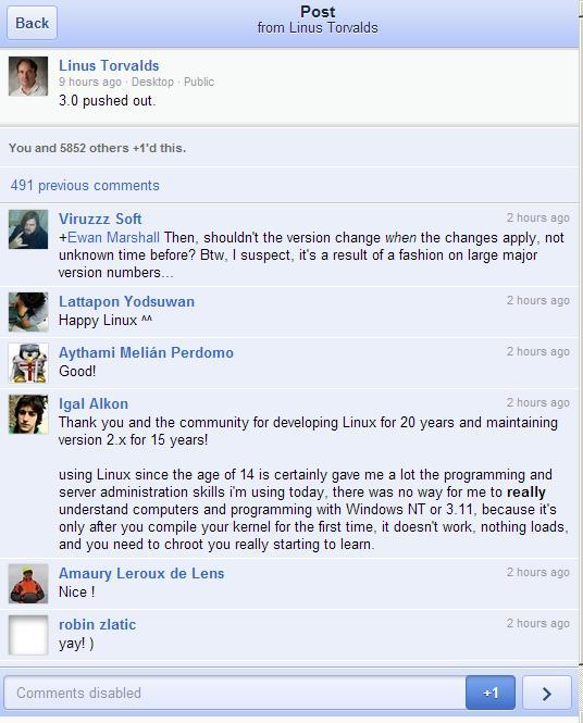 Linus Linux 3.0 Google+